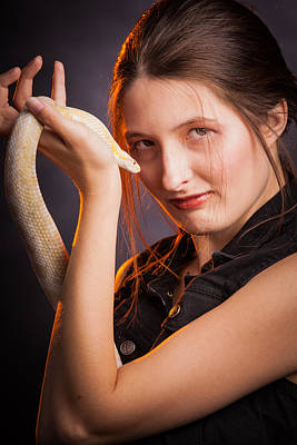 Photograph - Snake Lady Or Girl With Live Snake Photograph 5255.02 by M K Miller