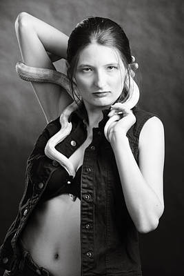 Snake Lady Or Girl With Live Snake Photograph 5263.01 Art Print