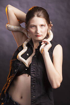 Photograph - Snake Lady Or Girl With Live Snake Photograph 5267.02 by M K Miller