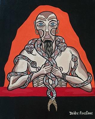 Gothic Art Painting - Snake Man's Twisted Desires by Deidre Firestone