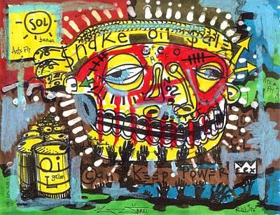 Folk Art Drawing - Snake Oil Salesman by Robert Wolverton Jr