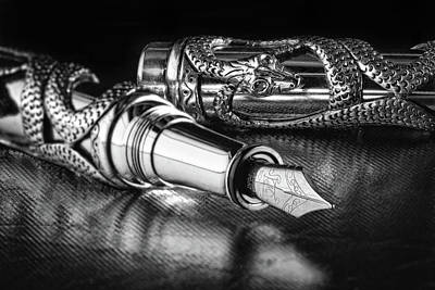Fountain Wall Art - Photograph - Snake Pen In Black And White by Tom Mc Nemar