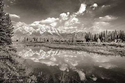 Photograph - Snake River Reflection Grand Teton Monochromatic by Scott McGuire