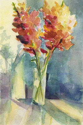 Interior Still Life Painting - Snapdragons In Morning Light Floral Watercolor by Beverly Brown
