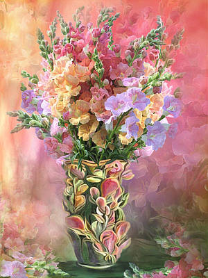 Flowers In Vase Mixed Media - Snapdragons In Snapdragon Vase by Carol Cavalaris