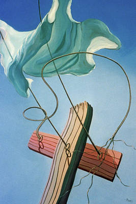 Painting - Snapped Clothesline by Sally Banfill