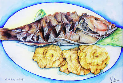 Painting - Snapper And Tostones by Victor Minca