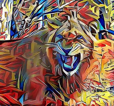 Snarling Lion Art Print