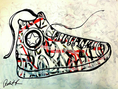 Painting - Sneaker Hi Top Shoe Pop Art by Robert R Splashy Art Abstract Paintings