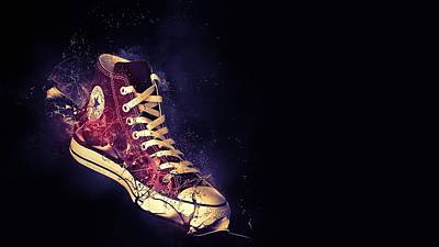 Converse Shoe Digital Art - Sneakers Converse Shoes Style Brand 38236 1920x1080 by Anne Pool