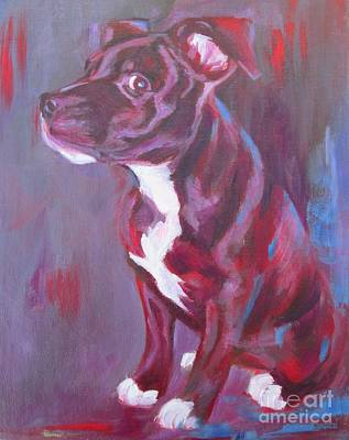 Painting - Sneaky Look - Staffy by Lesley McVicar