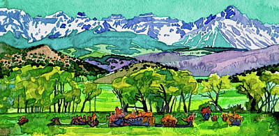 Painting - Sneffels Range Spring Watercolor by Dan Miller