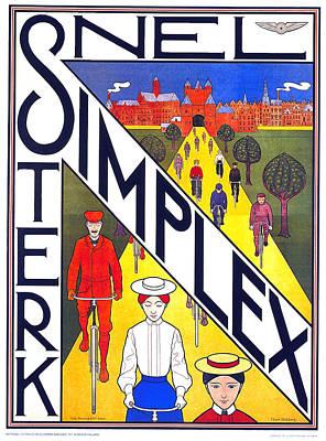 Mixed Media - Snel Simplex - Bicycle - Vintage Advertising Poster by Studio Grafiikka