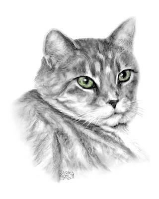 Gray Tabby Drawing - Snicker by Elizabeth Gyles Johnson