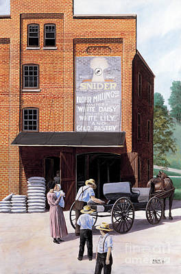 Horse And Buggy Painting - Snider's Mill by Roger Witmer