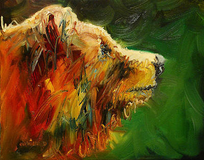Sniffing For Food Bear Print by Diane Whitehead