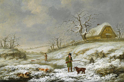 James Barenger Painting - Snipe Shooting In A Winter Landscape by James Barenger