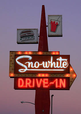 Sno-white Drive-in Sign Oakdale Ca Art Print