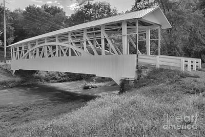 Photograph - Snook Covered Bridge Black And White by Adam Jewell