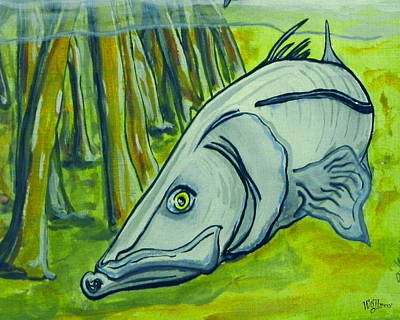 Fish Underwater Painting - Snook Fish by W Gilroy