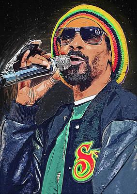 Ice-t Digital Art - Snoop Dogg by Semih Yurdabak