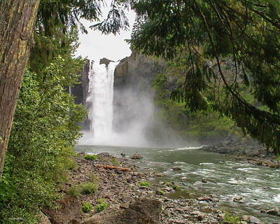 Photograph - Snoqualmie Falls From Below by Allen Sheffield