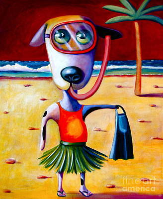 Snorkel Pup Art Print by Mary Naylor