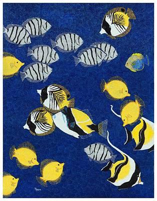 Hawaiian Fish Painting - Snorkel Soup by Linda Peterson