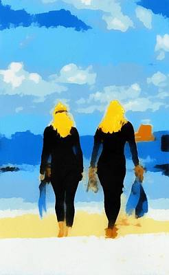Digital Art - Snorkeler Twins 1 by Carrie OBrien Sibley
