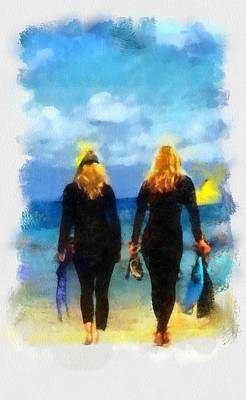 Digital Art - Snorkeler Twins  by Carrie OBrien Sibley