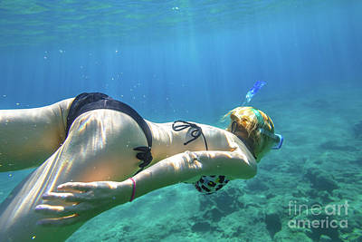 Photograph - Snorkeler Woman Swimming by Benny Marty