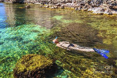 snorkeling in Greece Art Print