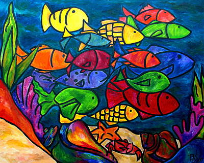 Aquarium Painting - Snorkeling Off Norman Island by Patti Schermerhorn
