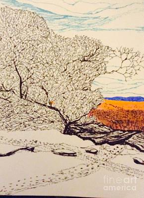 Snow Above The Desert  Art Print by Ishy Christine Degyansky