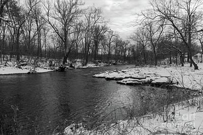 Photograph - Snow Along James River Grayscale by Jennifer White
