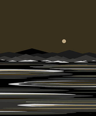 Digital Art - Snow And Ice - Night River by Val Arie