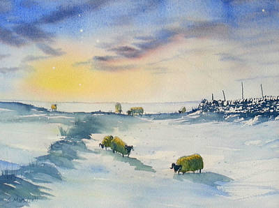Painting - Snow And Sheep On The Moors by Glenn Marshall
