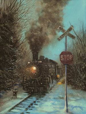 Snow Scene Painting - Snow And Steam by Tom Shropshire