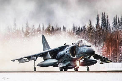 Av-8b Digital Art -  Snow Angel Harrier by Peter Chilelli