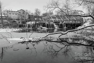 Photograph - Snow At Finley Dam Grayscale by Jennifer White