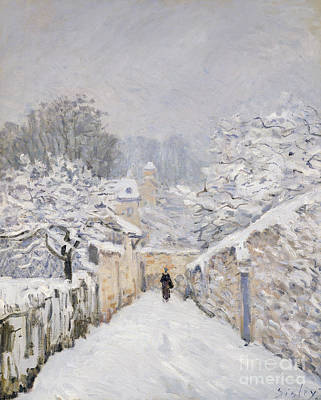 Snow-covered Landscape Painting - Snow At Louveciennes by Alfred Sisley