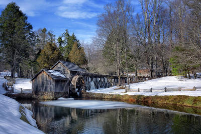 Snow At Mabry Mill Art Print by Steve Hurt