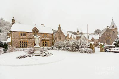 Snow At Pantasaph Friary Art Print by Adrian Evans