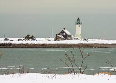 Snow At Scituate Lighthouse Art Print