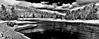 Photograph - Snow At The River - Bw by David Patterson