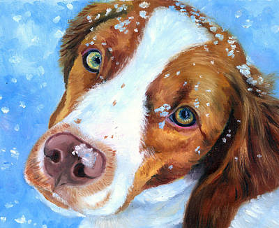 Puppies Painting - Snow Baby - Brittany Spaniel by Lyn Cook