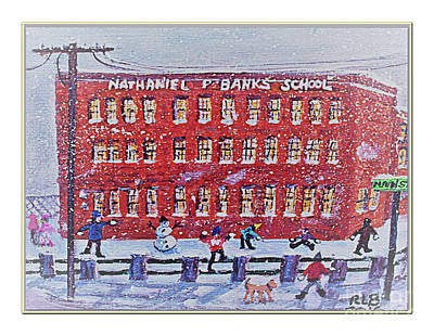 Painting - Snow Ball Fight At Banks School by Rita Brown