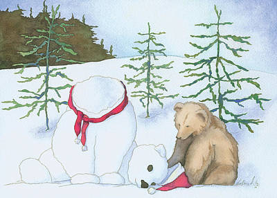 Wall Art - Mixed Media - Snow Bear by Lisa Burvant