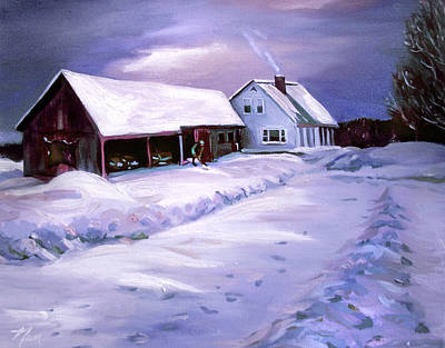 Painting - Snow Before Seven At Humpal's Home 2005 by Nancy Griswold