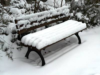 Photograph - Snow Bench by Valerie Ornstein